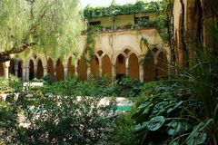 Cloister. The tranquility of a cloister in a church Royalty Free Stock Photo