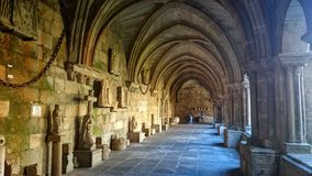 Cloister of Tui Cathedral in Galicia stock photography