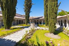 Cloister with well of La Recoleta monastery Arequipa Peru royalty free stock photo