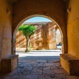 Basilica of Arkadi Monastery on Crete Island, Greece. Cloisters in Basilica of Arkadi Monastery on Crete Island, Greece Royalty Free Stock Image