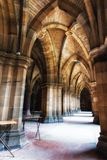 The University of Glasgow Cloisters. Cloisters connecting the quadrangles of the ancient University of Glasgow on July 07, 2017 in Glasgow, Scotland. It is one Royalty Free Stock Photo