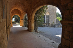 Cloisters and frescoes at Ialyssos Monastery Rhodes Stock Photography