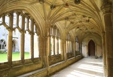 Cloisters, Lacock Abbey, Wiltshire, England. Cloisters of Lacock Abbey the tourist attraction in Chippenham, Wiltshire, England Royalty Free Stock Images