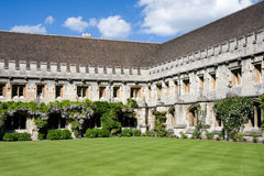 Cloisters at Magdalen College, Oxford. Quadrangle with cloisters at Magdalen College, Oxford stock image
