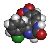 Clonazepam benzodiazepine drug molecule. Used in treatment of seizures, insomnia, anxiety, etc. Atoms are represented as spheres