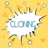 Clonazione del testo della scrittura Il significato di concetto fa le copie identiche di qualcuno o di qualcosa che crea i cloni royalty illustrazione gratis