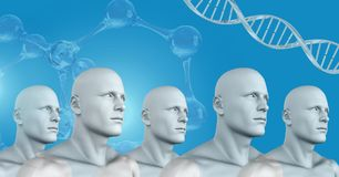 Clone 3D men in group with genetic DNA. Digital composite of Clone 3D men in group with genetic DNA Royalty Free Stock Photography