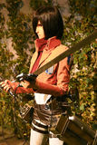 Clone-oid di Mikasa Ackerman da Shingeki nessun Kyojin Immagini Stock Libere da Diritti