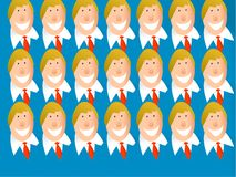 Clone team. Crowd of identical caucasian business men Royalty Free Stock Photos