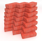 Cloned Bricks. Vertical stack of red 3d bricks, isolated Stock Image