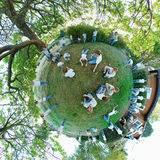 Clones on a tiny planet Stock Photo