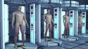 Cloni dell'essere umano ed architettura interna futuristica Fotografie Stock Libere da Diritti
