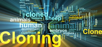 Cloning word cloud glowing. Word cloud concept illustration of cloning clone glowing light effect Stock Photography
