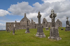 Clonmacnoise. Early christian site at Clonmacnoise founded by St. Ciarán Royalty Free Stock Image
