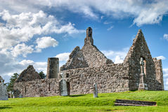 Clonmacnoise, Ireland. Dowling and Hurpan temple of the monastery of Clonmacnoise, Ireland Royalty Free Stock Image