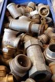 Clopse-up de las instalaciones de tuberías Galvanized Imagen de archivo