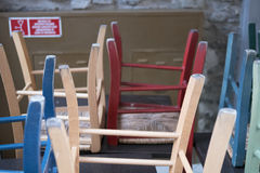Clored chairs in a restaurant Royalty Free Stock Photography