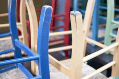 Clored chairs in a restaurant Stock Photo