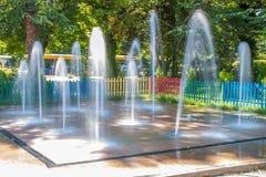Clorful Fountain. Fountain on the Freedom Island in Pazarezhik, Bulgaria royalty free stock image