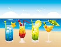 Clorful fresh vacations cocktails. Royalty Free Stock Photography