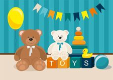 Clorful Kids toys. Teddy Bear, wooden toy train, pyramid and other royalty free illustration