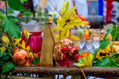 Clorful scene with fruits and drinks at table. Celebration Royalty Free Stock Images