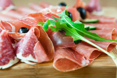 Clos eup of carpaccio,salami and prosciutto Stock Photo