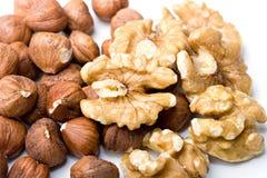 Clos nutricious del alimento de la avellana de las nueces y de las avellanas imagenes de archivo