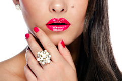 Clos-up portrait of beautiful young woman. Clos-up portrait of beautiful young caucasian woman with glamour make-up and shiny red / pink lips Royalty Free Stock Image