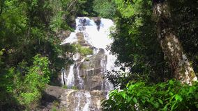 Close approach to waterfall, Phuket. Thailand, South East Asia. 4K stock video footage