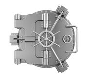 Close Bank Vault Door. Isolated on white background. 3D render stock illustration