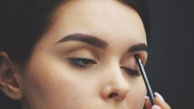 Close the beautiful face of the young girl to get the makeup. Woman applying eye shadow on her eyebrows with a brush. stock footage