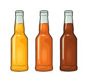 Close bottle with three types beer. Vector color illustration. royalty free illustration