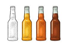 Close bottle with three types beer. Vintage color vector engraving illustration. vector illustration