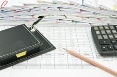 Close box of yellow note and pencil with calculator Stock Photo