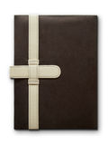 Close Brown Leather cover notebook Stock Photos
