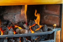 Cut wooden logs for a fireplace stock photo