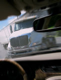 Close Call Car Crash with Tractor Trailer Truck Royalty Free Stock Photos