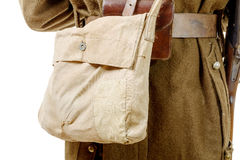 Close on the canvas bag of french military, 40s Stock Images