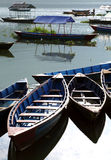 Close of the  colorful boats in Phewa Lake Stock Image