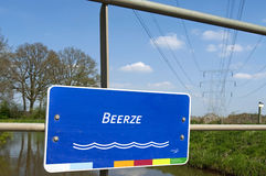 Close colorful nameplate of Dutch brook the Beerze Stock Images