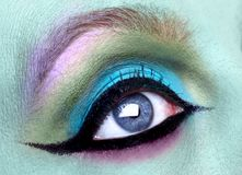 Close Creative Eye Make Up Macro Shot Stock Photo