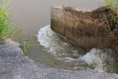 Water eroded the road near the concrete. Stock Images