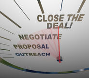 Close the Deal Speedometer Sales Process to Agreement. A speedometer with words showing the steps of a successful sale -- outreach, proposal, negotiate, and Stock Image