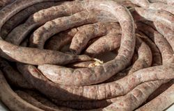 Natural fresh raw pork meat sausages Stock Image