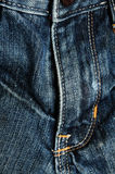 Close detail of jeans. Close front detail of blue jeans Royalty Free Stock Photo