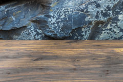 Close and details of rough reddish brown wood board with exotic Stock Image