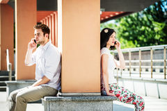 Close and distant - problems in relationship? Stock Image