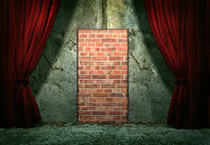 Close door. Closed door by bricks on grunge wall and red curtain above (3D rendering Royalty Free Stock Photography