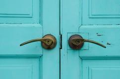 Close door. Close vintage wooden door and lock Stock Images